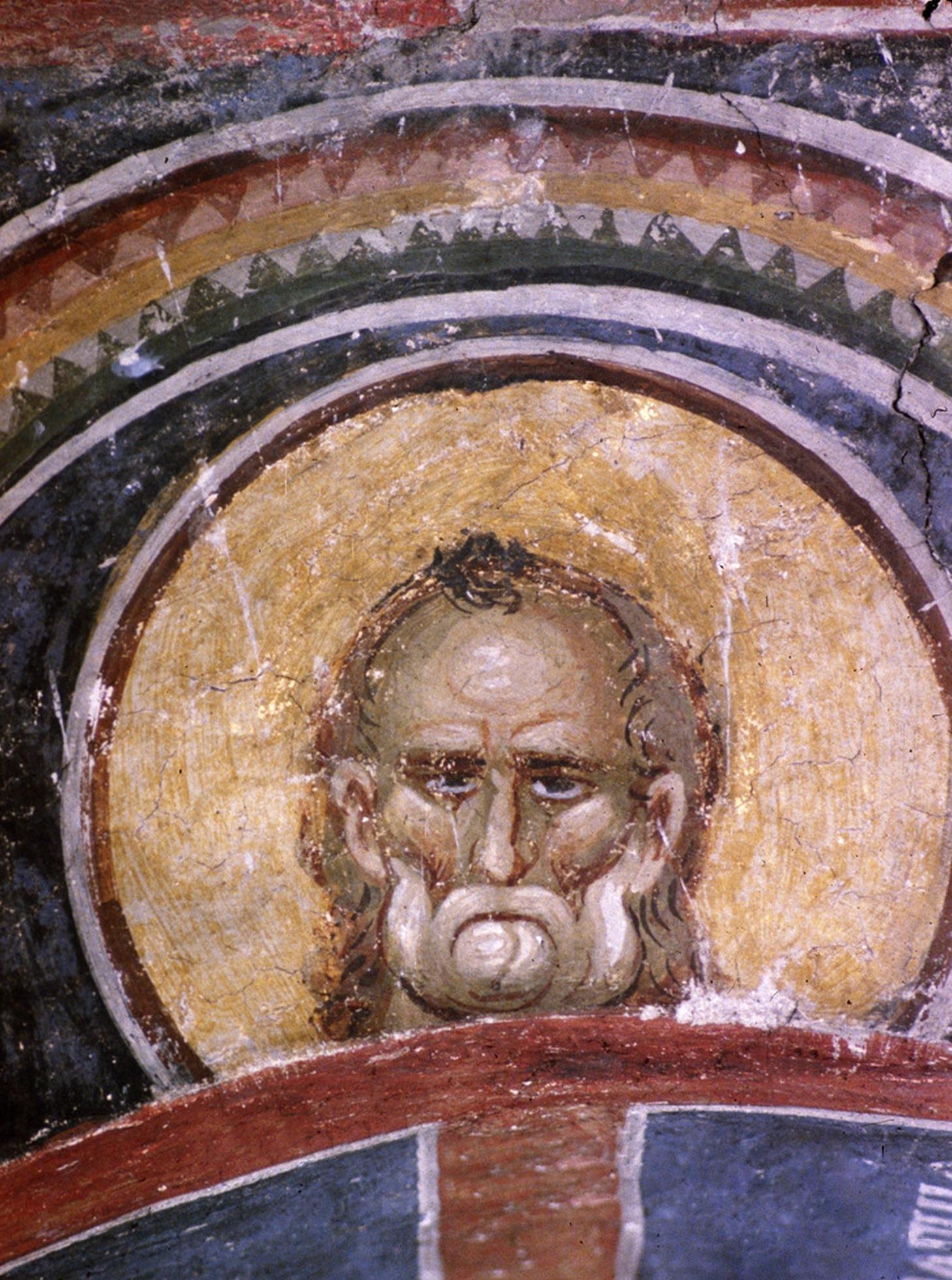 Святой. Фреска монастыря Раваница, Сербия. 1380-е годы.