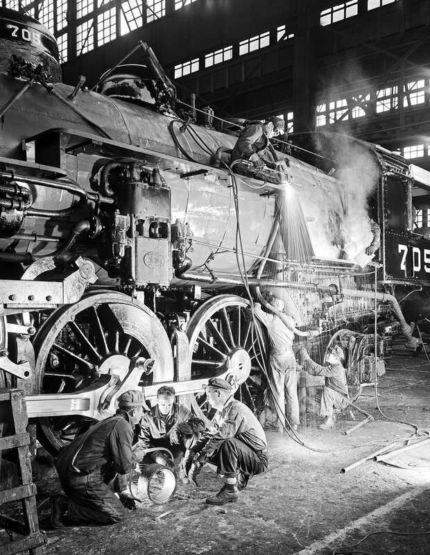 Work Crew Repairing Locomotive 705, Texas & Pacific Railway Company. Marshall, Harrison County, Texas, ca. 1946