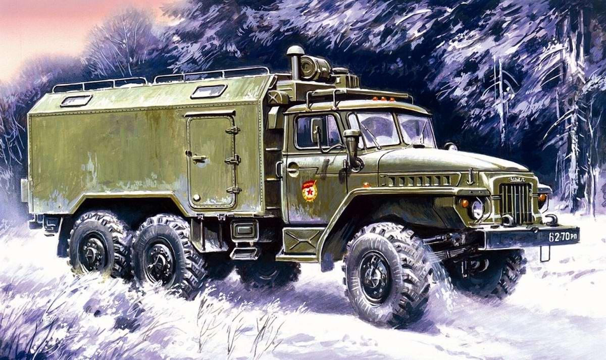 Армейский грузовой автомобиль Урал-375А - Подвижный командный пункт