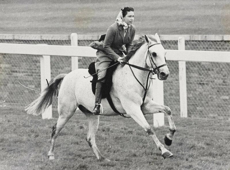 HM Queen Elizabeth II (b. 1926) rides the Ascot racecourse
