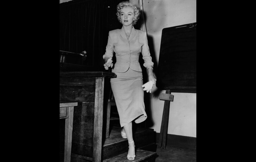 Monroe leaves the witness stand after her testimony against two men accused of distributing nude photos, June 26, 1952.