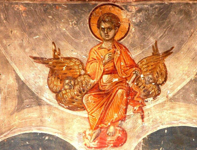 Фрагмент фрескового цикла, иллюстрирующего Акафист Пресвятой Богородице. XIV век. Церковь Св. Николая Орфаноса в Салониках, Греция.