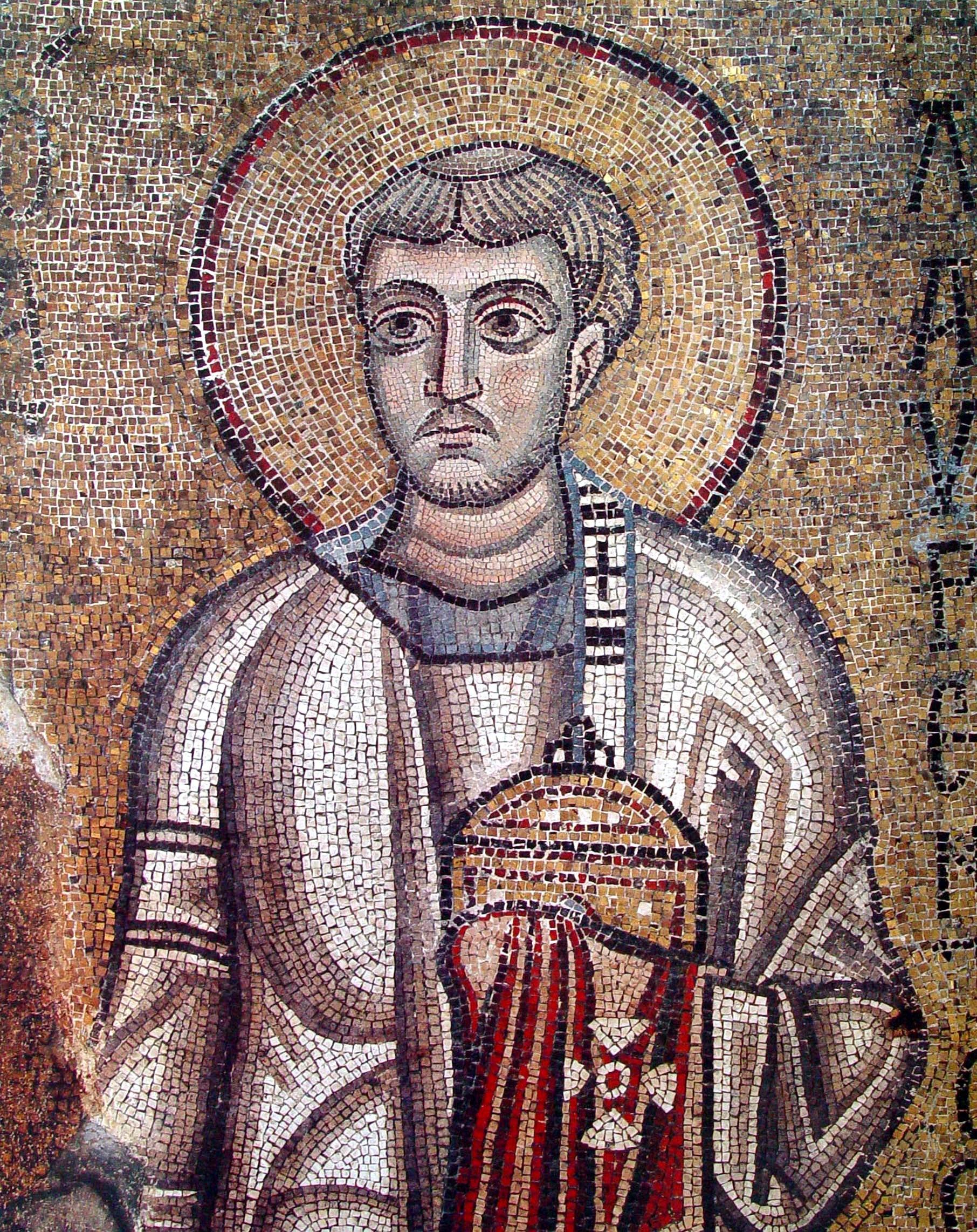 Святой мученик Лаврентий, архидиакон Римский. Мозаика Софийского собора в Киеве. 1030 - 1040-е годы.
