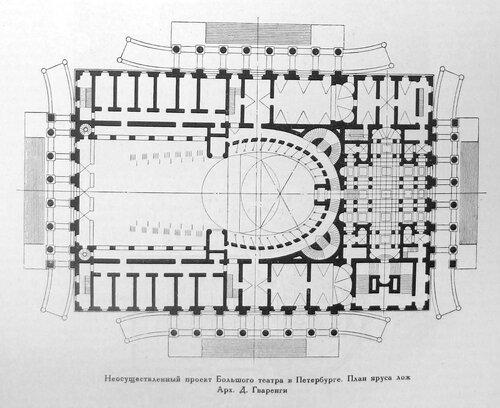 Неосуществленный проект Большого театра в Петербурге, чертежи