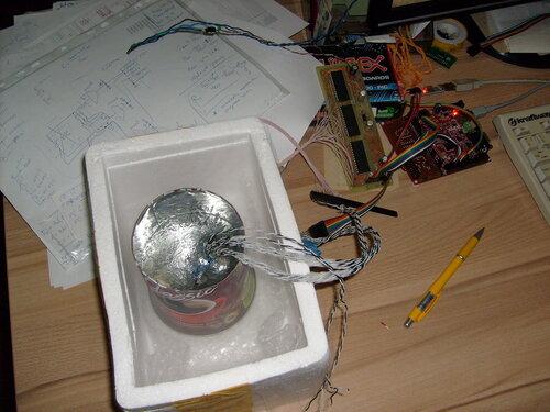 Термодатчики в банке с азотом
