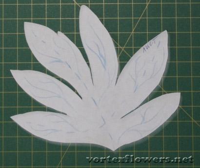 двойные листья для цветов из ткани