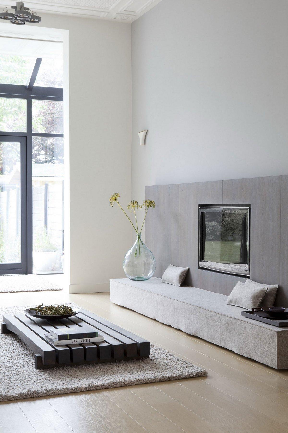 интерьер в стиле минимализма, светлый интерьер, белый цвет в интерьере фото, частные дома в Гааге, встроенная мебель фото, интерьер в стиле дзен фото