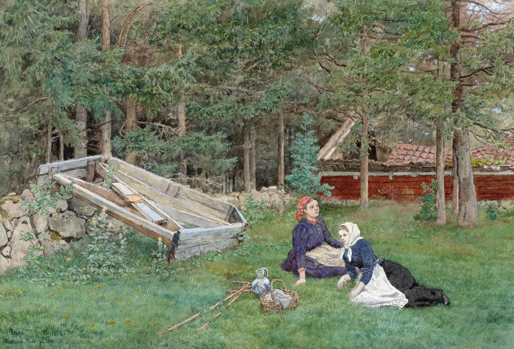 Hans Gude - Den gamle Sneplov Ved Skovkanten (1893)..jpg