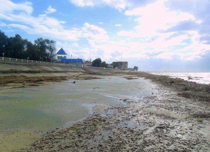 Вода на пляже, сентябрь, Азовское побережье, осенние картинки
