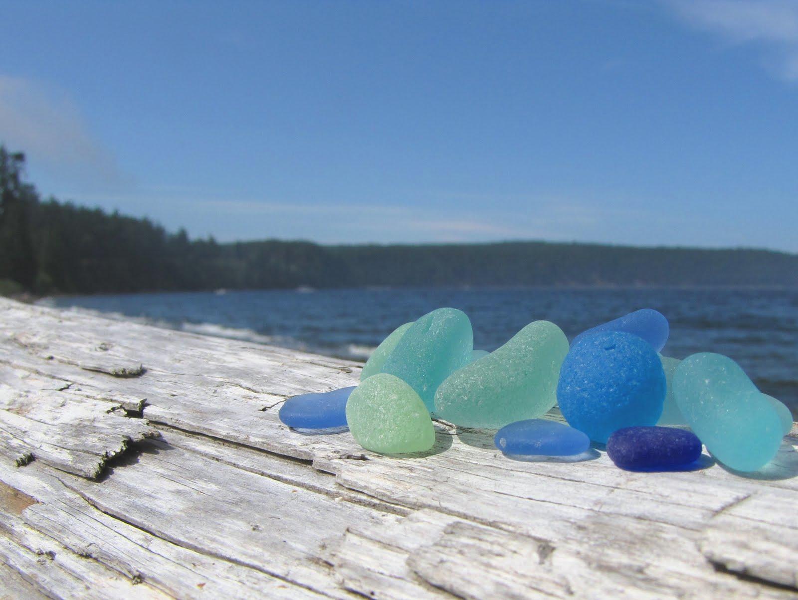 обкатанное морем стекло, синий, бирюзовый
