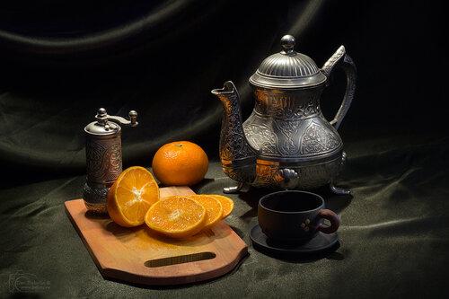 Кофе с мандаринами или учебный натюрморт №4
