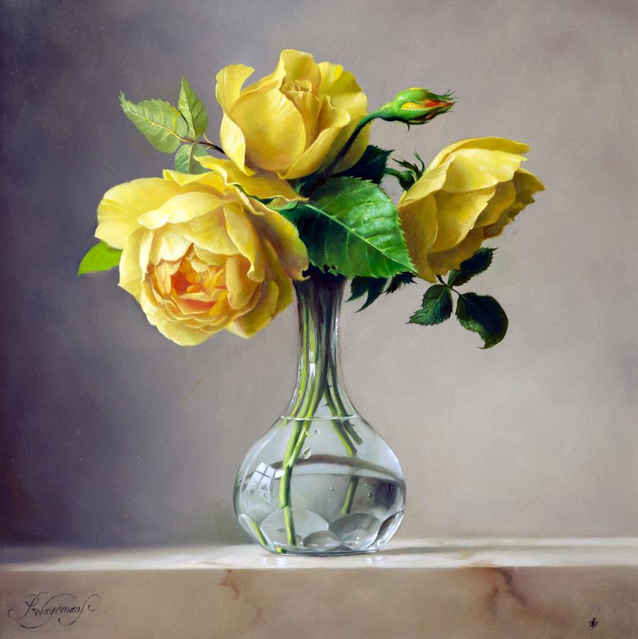 внешне картинка три цветка в вазе снимала