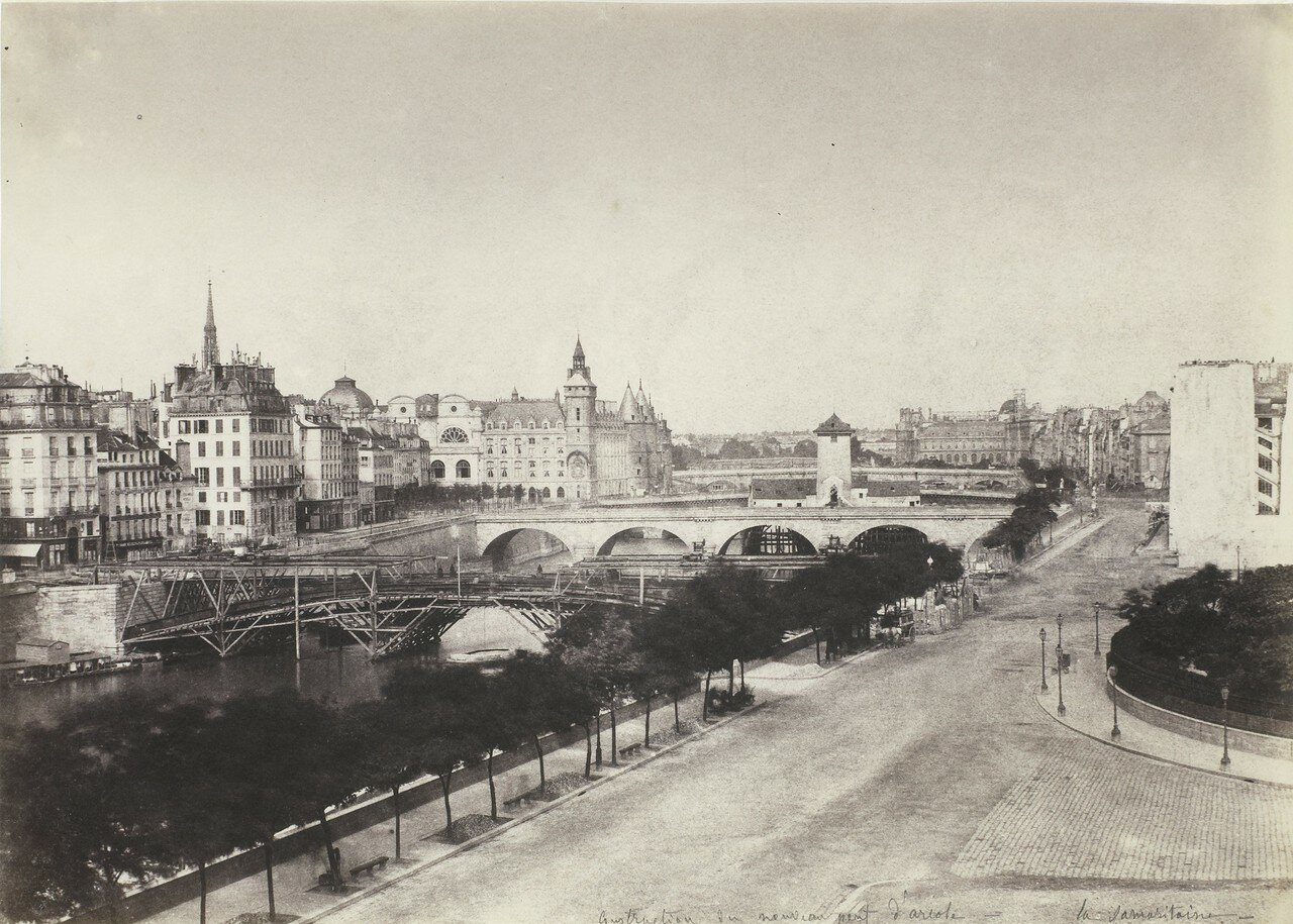 1855. Вид на Сену и строительство нового Аркольского моста