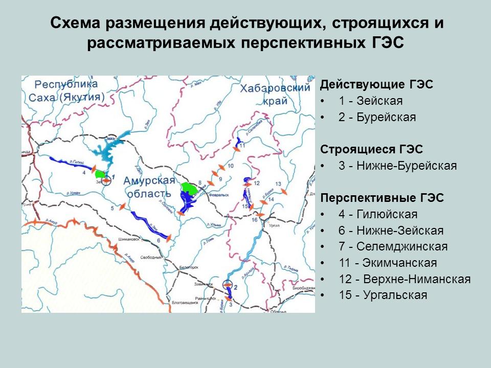 Схема размещения действующих, строящихся и рассматриваемых перспективных ГЭС в бассейне Амура (из доклада С.А. Подольского «Возможности использования экологического мониторинга для сохранения биоразнообразия при освоении гидроэнергоресурсов Приамурья»)