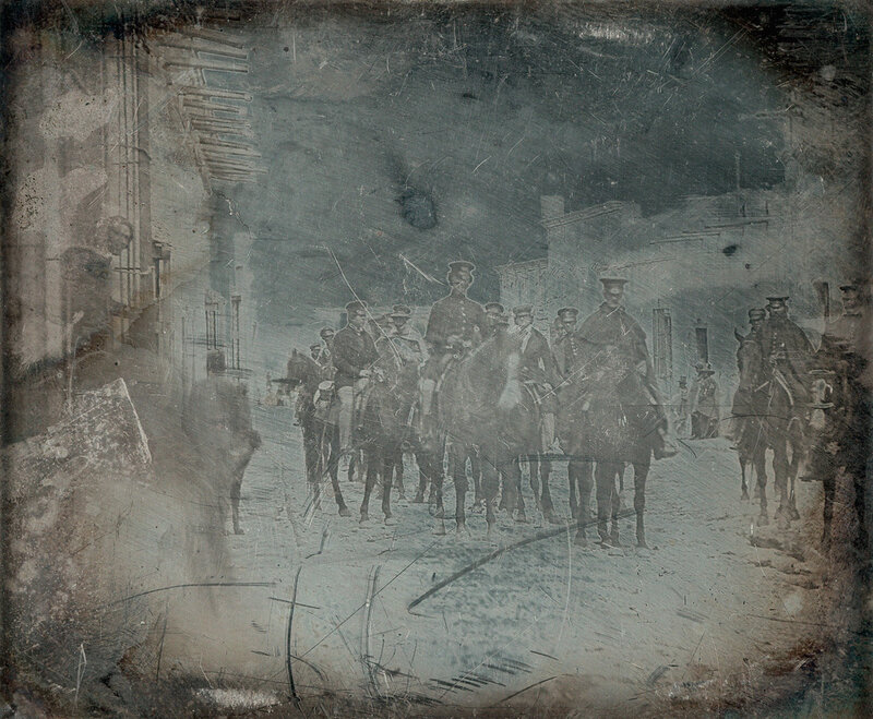 1847с General Wool and staff in the Calle Real, Saltillo (Coahuila), Mexico.jpg