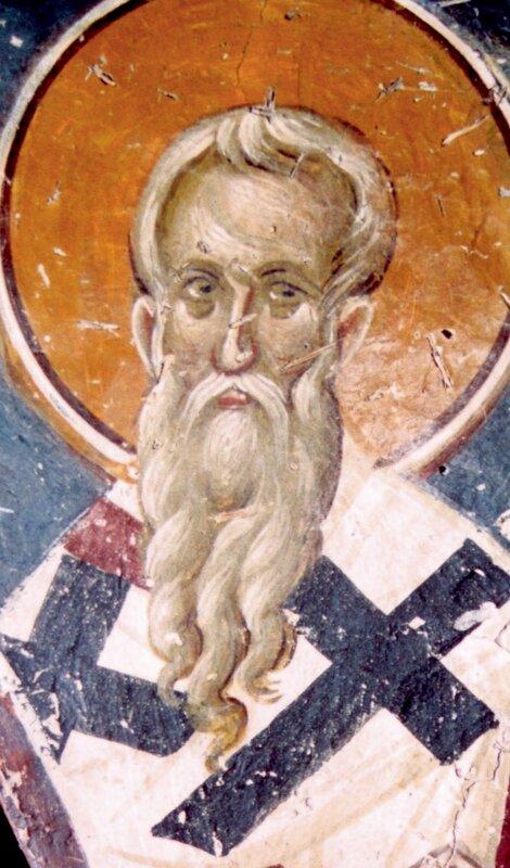 Священномученик Антипа, Епископ Пергамский. Фреска церкви Св. Николая Орфаноса в Салониках, Греция. XIV век.