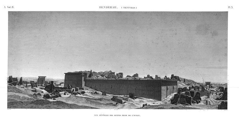 Святилище Хатхор в Дендре, Египет, общий вид руин начала XIX века, гравюра из атласа Наполеона