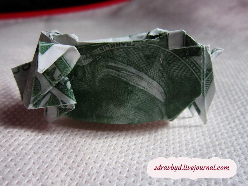 свинья копилка оригами