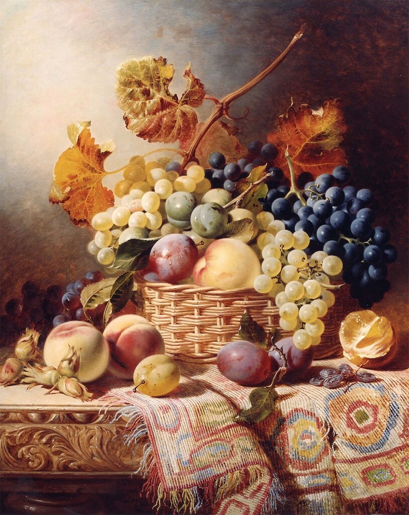 William Duffield - Still Life with Basket of Fruit on a Table with a Rug - 11994-2426.jpg