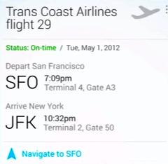 Google Now для Android показывает альтернативные пути при задержке авиарейса