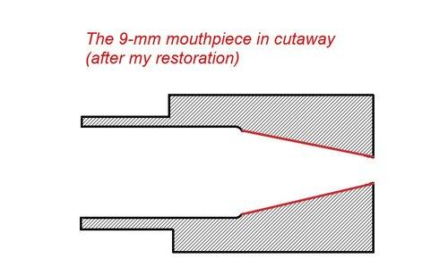 Трубочное редактирование: мундштук 9 мм в разрезе (после реставрации)