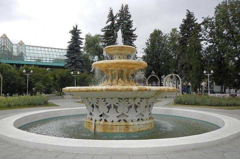 Фонтан в розарии в парке им. Горького