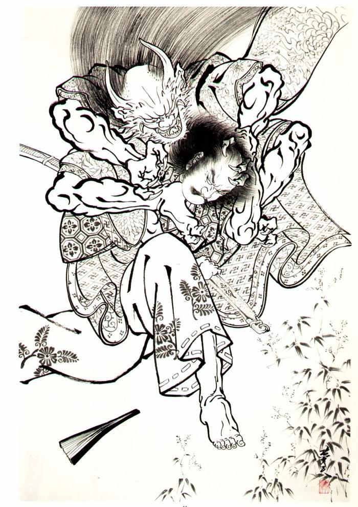 Злобные демоны на эскизах татуировок японского художника Horiyoshi (12)