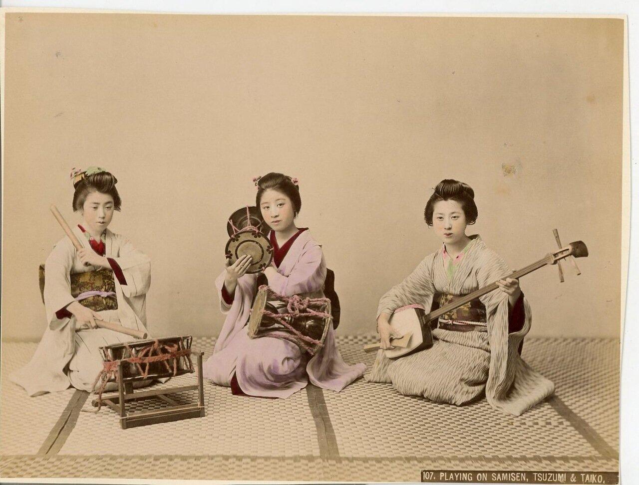 Игра на сямисэн, тсузуми и тайко