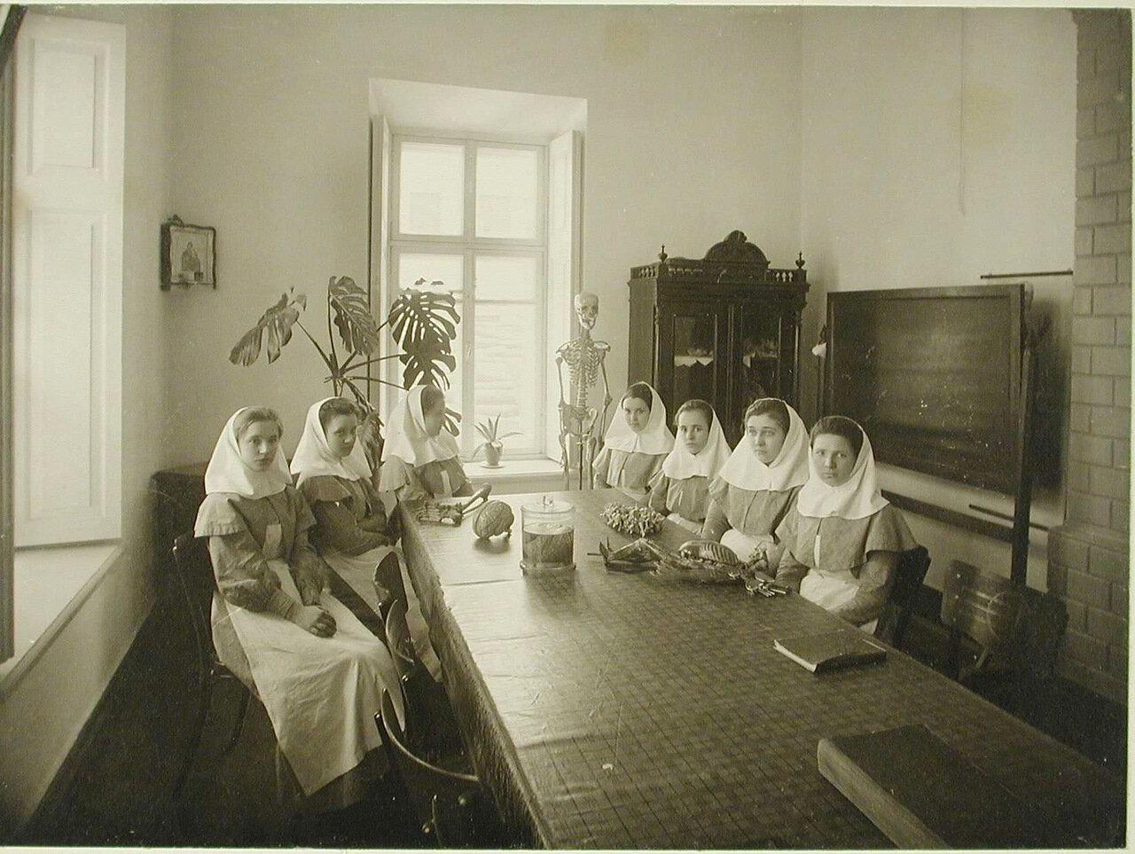 11. Группа сестёр милосердия в аудитории во время занятий по анатомии