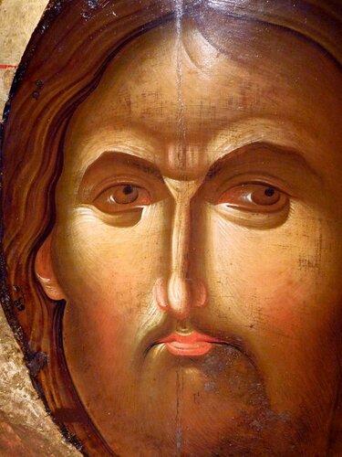 Христос Пантократор (Вседержитель). Икона середины XIV века. Галерея икон в Охриде, Македония. Фрагмент.