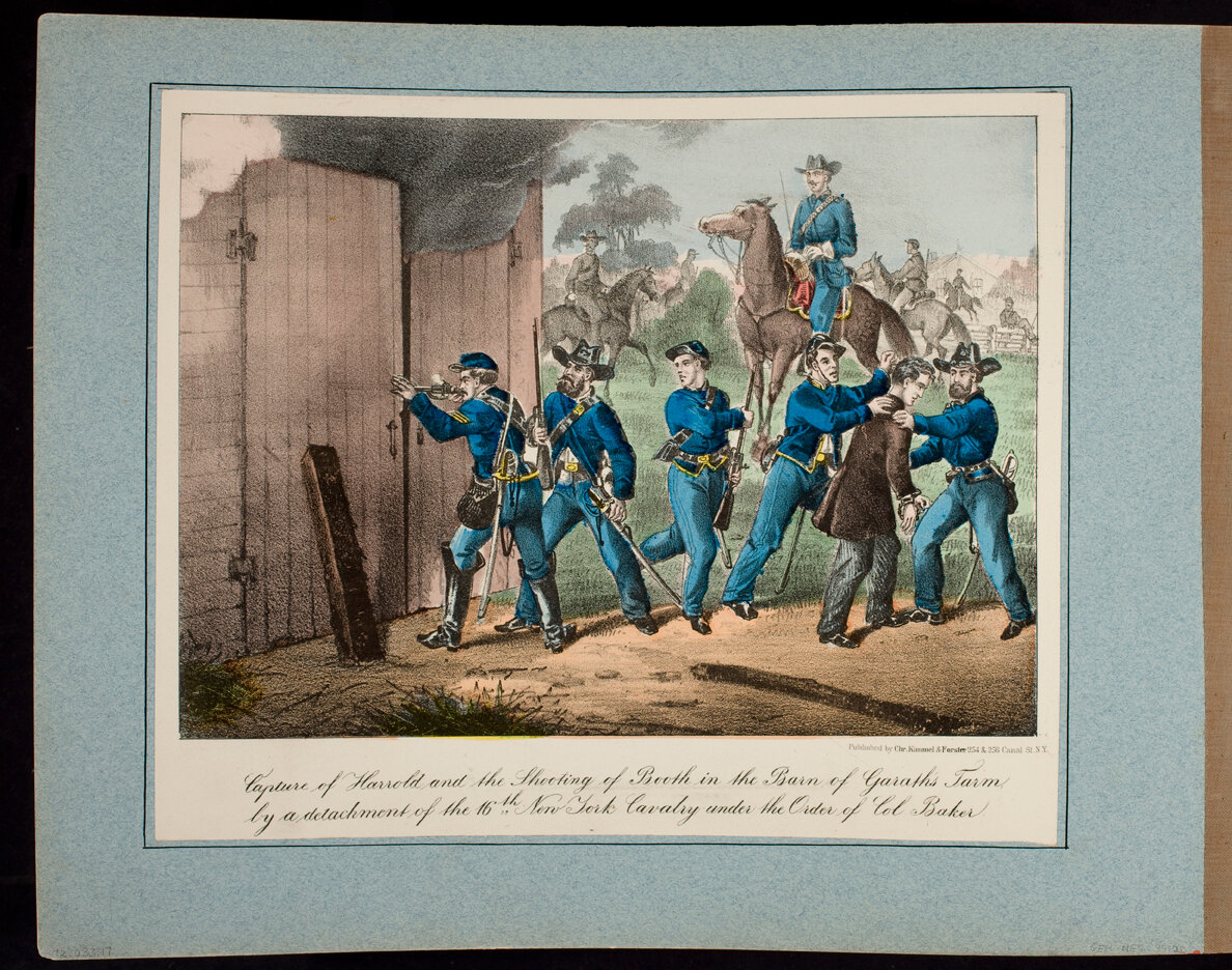 Capture of Harrold and the Shooting of Booth in the Barn of Garath's Farm, by a detachment of the 16th. New York Cavalry under the Order of Col. Baker.