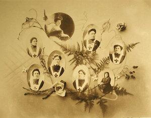 Сестры милосердия лазарета; 1 -  попечительница Верхнеудинской общины Е.Ф.Чаманская; 2 -  старшая сестра  и настоятельница лазарета О.А.Макшеева  и другие (табло)