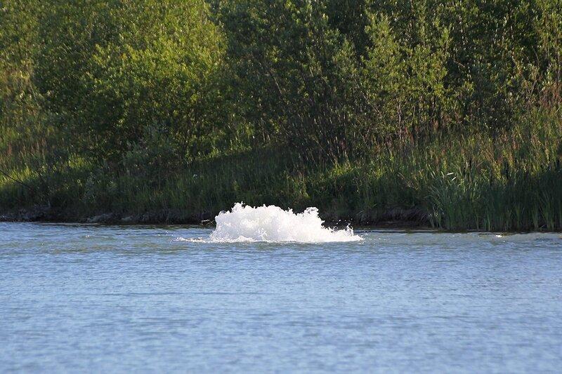 гейзер на технологическом пруду Кировской ТЭЦ-5