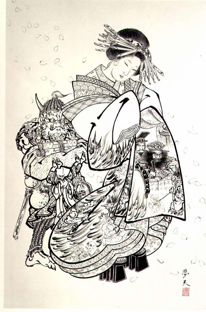 Злобные демоны на эскизах татуировок японского художника Horiyoshi (9)