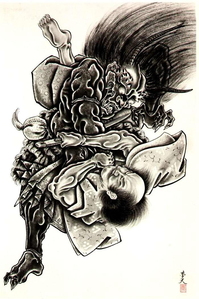 Злобные демоны на эскизах татуировок японского художника Horiyoshi (42)