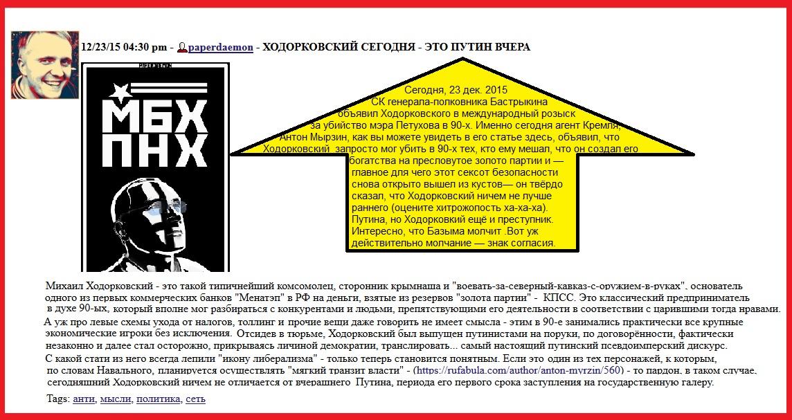 Ходорковский, Папердемон, Базыма, Украина