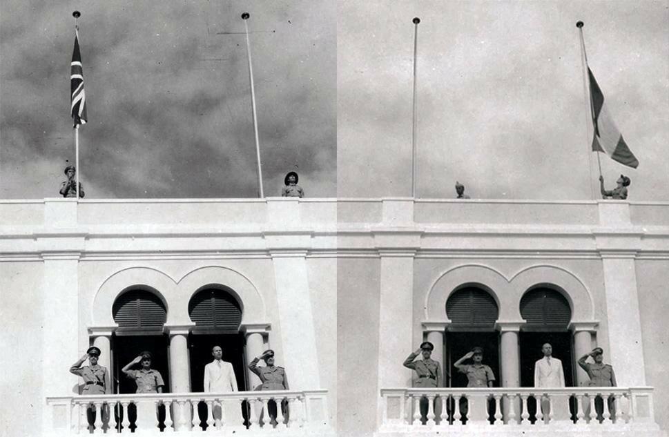 1 апреля 1950 года – спуск английского флага, подъём итальянского (передача Сомали обратно итальянцам).jpg