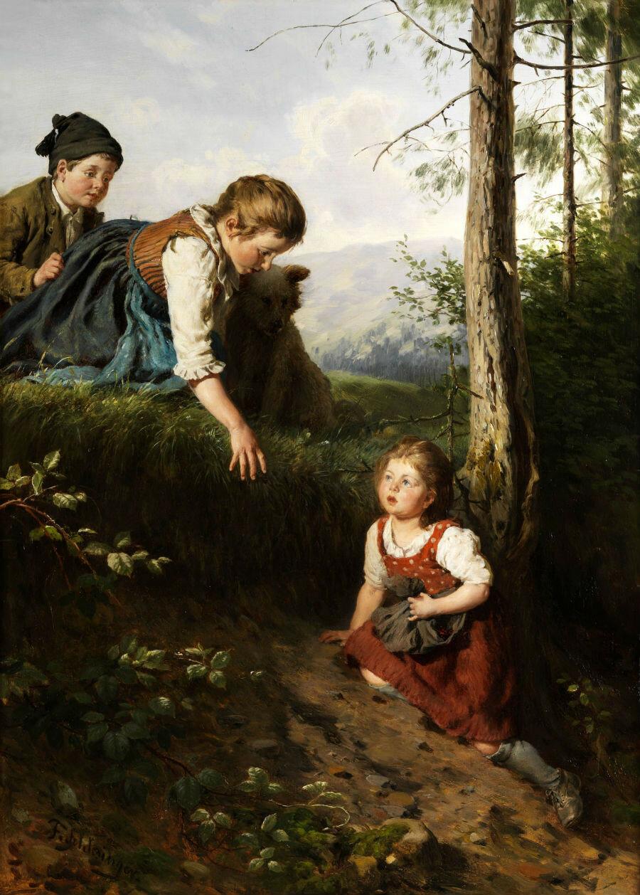 Felix_Schlesinger_-_Drei_Kinder_im_Wald_beim_Beerenpflücken.jpg