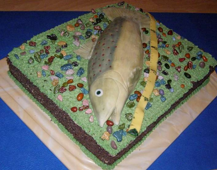 3D торт Рыба из сахарной мастики. 50 идей