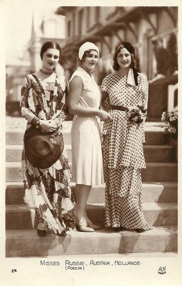 1. Мисс Россия, Австрия и Голландия на улицах Парижа. Самый первый всеевропейский конкурс красоты бы