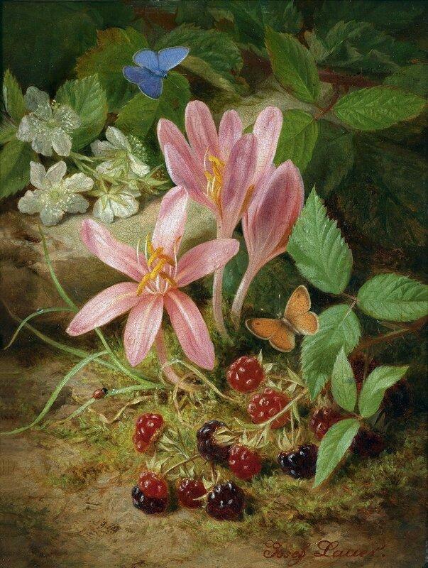 Осенние цветы с ежевикой. Австрийский мастер натюрмортов ХIХ века - Йозеф Лауэр