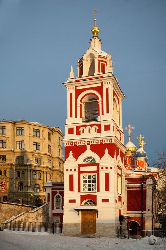 The bell tower of the Znamensky Monastery near Kremlin at street Varvarka