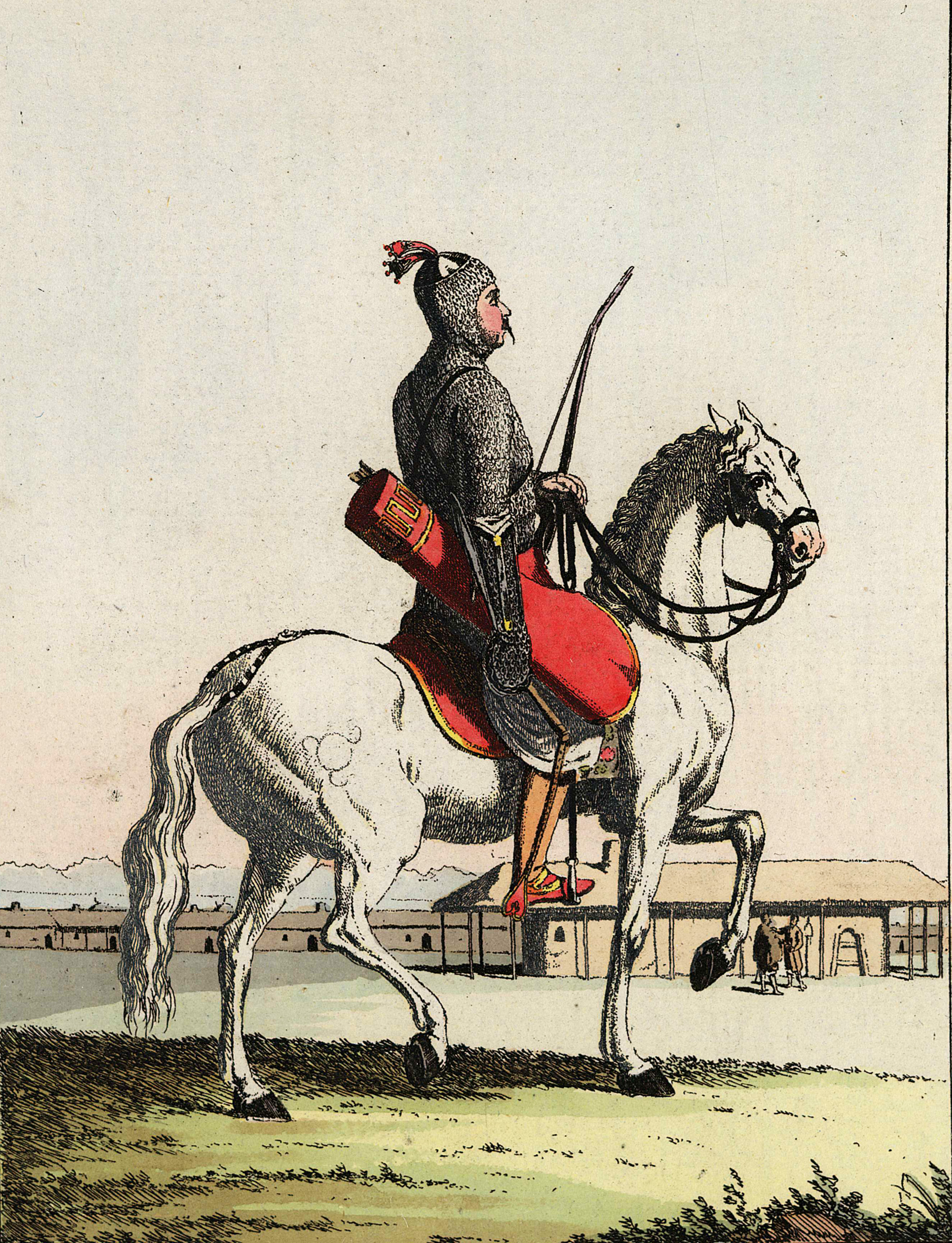 20. Черкесский воин знатного происхождения в полном обмундировании, в кольчуге с колчаном стрел и луком, гарцующий на лошади.
