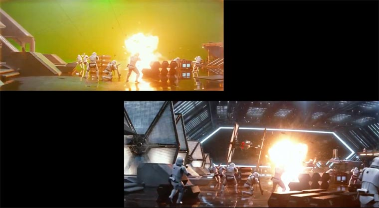 Star Wars VII: The Force Awakens - A before/after special effects comparison