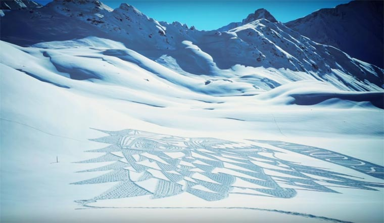 Game Of Thrones Snow Art - Simon Beck creates a giant wolf in the Alps