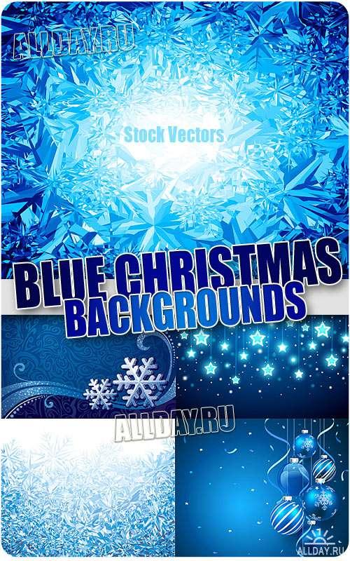 Синие новогодние фоны - Векторный клипарт