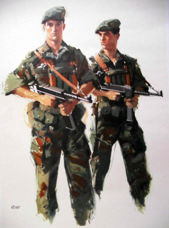 Albert Brenet - French Marins commandos, 1960s, note MAT-49 subguns