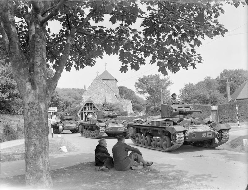 Valentine tanks of 29th Armoured Brigade, 11th Armoured Division in the village of Rottingdean in Sussex, 25 June 1942