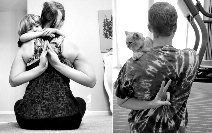 Брат спародировал фотографии сестры-близняшки с помощью кота