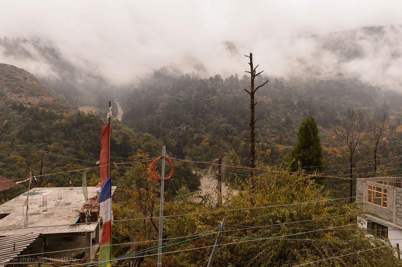 15. Вид из окна в нашей гостинице в деревне Лачунг на севере штата Сикким. Куда поехать самостоятельно в Индии? 1/160, -1.0, 8.0, 200, 24